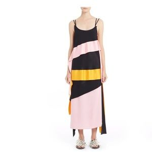 MSGM Satin Ribbon Streamer Maxi Dress